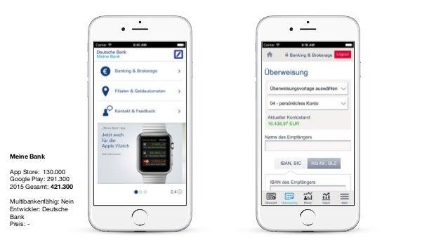 Meine Bank App Store: 130.000  Google Play: 291.300  2015 Gesamt: 421.300  Multibankenfähig: Nein  Entwickler: Deutsche Ba...