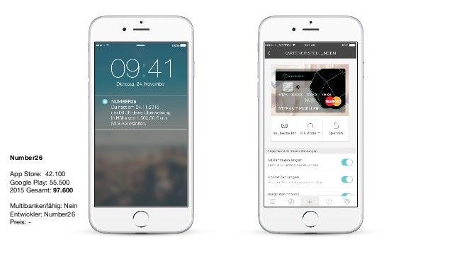 Number26 App Store: 42.100  Google Play: 55.500  2015 Gesamt: 97.600  Multibankenfähig: Nein  Entwickler: Number26  Preis:...