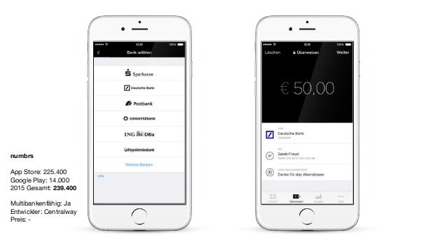 numbrs App Store: 225.400  Google Play: 14.000  2015 Gesamt: 239.400  Multibankenfähig: Ja  Entwickler: Centralway  Preis:...