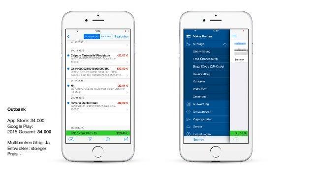 Outbank App Store: 34.000  Google Play:  2015 Gesamt: 34.000  Multibankenfähig: Ja  Entwickler: stoeger  Preis: -