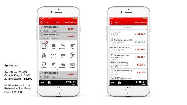 Sparkasse+ App Store: 70.400  Google Play: 118.000  2015 Gesamt: 188.400  Multibankenfähig: Ja  Entwickler: Star Finanz  P...