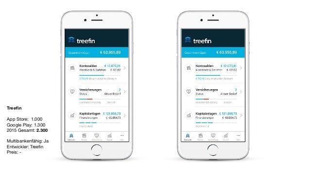 Treefin App Store: 1.000  Google Play: 1.300  2015 Gesamt: 2.300  Multibankenfähig: Ja  Entwickler: Treefin  Preis: -
