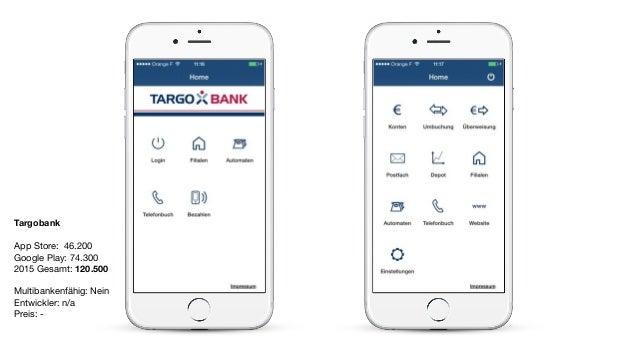 Targobank App Store: 46.200  Google Play: 74.300  2015 Gesamt: 120.500  Multibankenfähig: Nein  Entwickler: n/a  Preis: -
