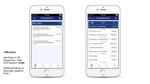 123Banking App Store: 4.100  Google Play: 7.900  2015 Gesamt: 12.000  Multibankenfähig: Ja  Entwickler: petaFuel   Preis: ...