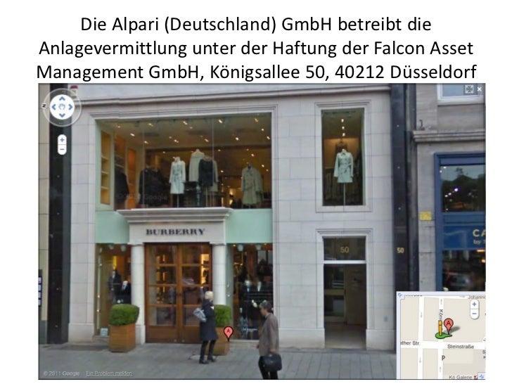Die Alpari (Deutschland) GmbH betreibt dieAnlagevermittlung unter der Haftung der Falcon AssetManagement GmbH, Königsallee...