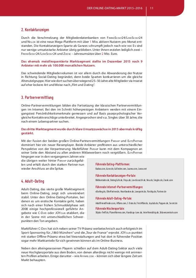 Euro Social-Dating Kontaktanzeigen Partnervermittlungen Adult-Dating  Nischenanbieter; 11.