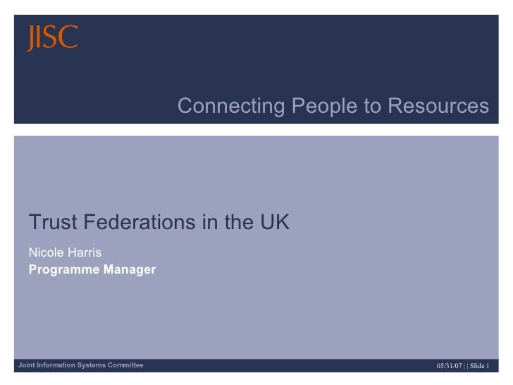 Connecting People to Resources Trust Federations in the UK Nicole Harris Programme Manager