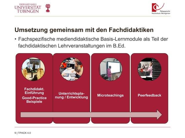 Umsetzung gemeinsam mit den Fachdidaktiken • Fachspezifische mediendidaktische Basis-Lernmodule als Teil der fachdidaktisc...