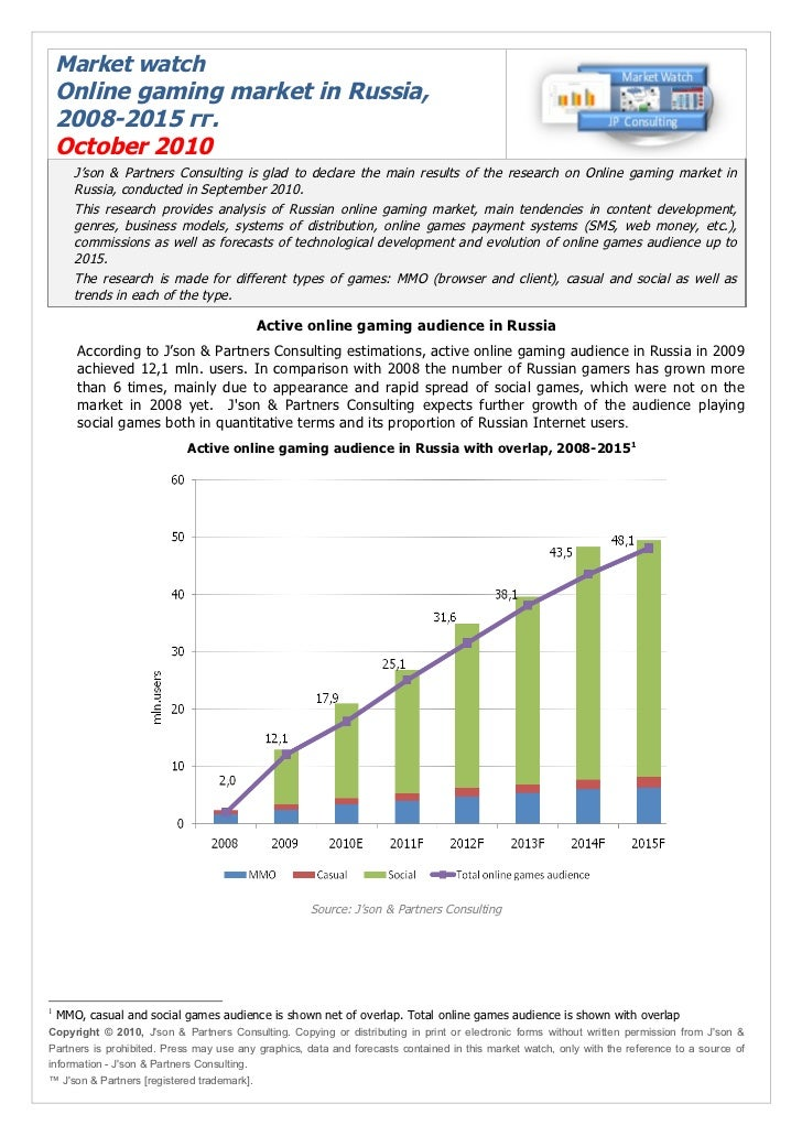 Market watch    Online gaming market in Russia,    2008-2015 гг.    October 2010       J'son & Partners Consulting is glad...