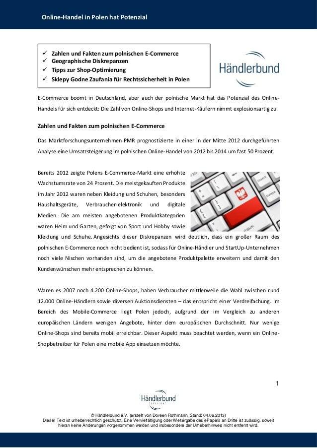 1© Händlerbund e.V. (erstellt von Doreen Rothmann, Stand: 04.06.2013)Dieser Text ist urheberrechtlich geschützt. Eine Verv...
