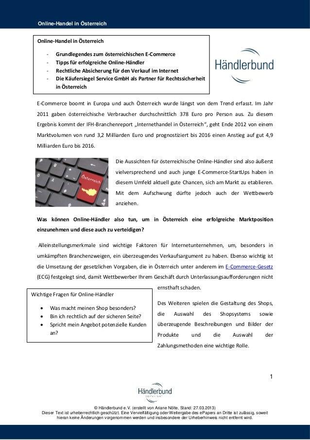 Online-Handel in Österreich  Online-Handel in Österreich       -     Grundlegendes zum österreichischen E-Commerce       -...
