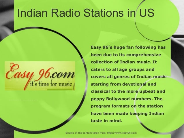 Indian Radio Stations in US Source of the content taken from https://www.easy96.com Easy 96's huge fan following has been ...