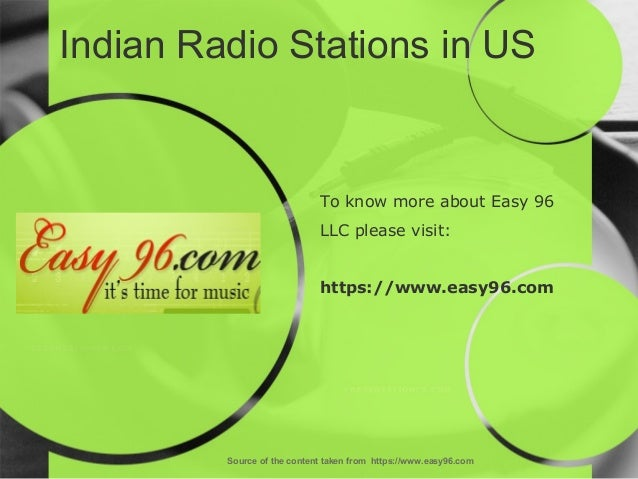 Indian Radio Stations in US Source of the content taken from https://www.easy96.com To know more about Easy 96 LLC please ...