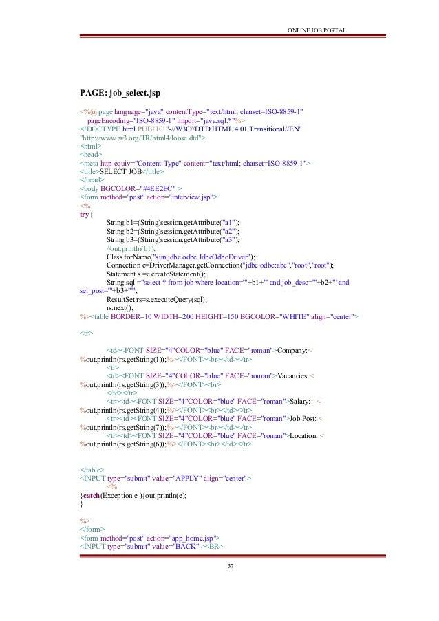 Online Job Portal Java Project Report