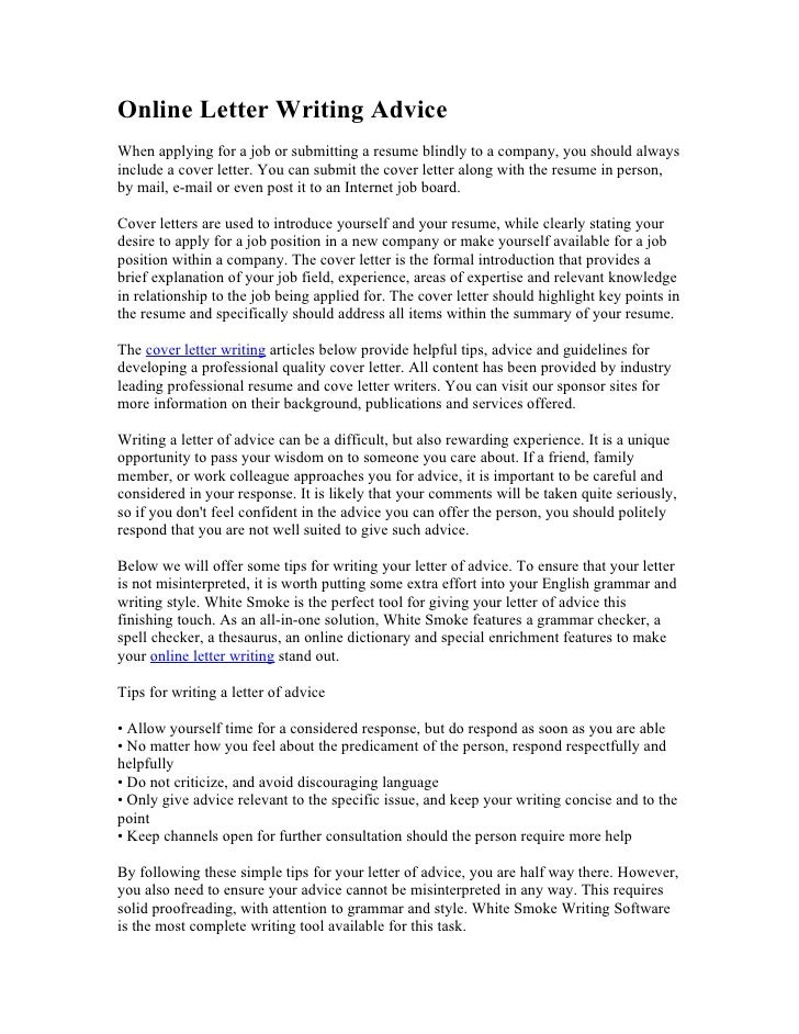Online Letter Writing AdviceWhen Applying For A Job Or Submitting A Resume  Blindly To A Company