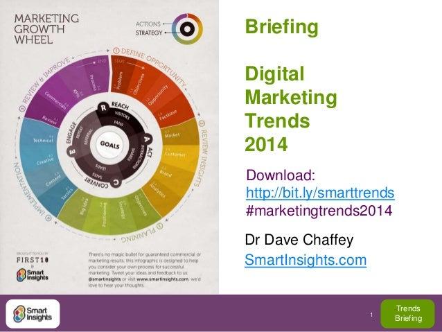 Briefing  Digital Marketing Trends 2014 Download: http://bit.ly/smarttrends #marketingtrends2014 Dr Dave Chaffey SmartInsi...