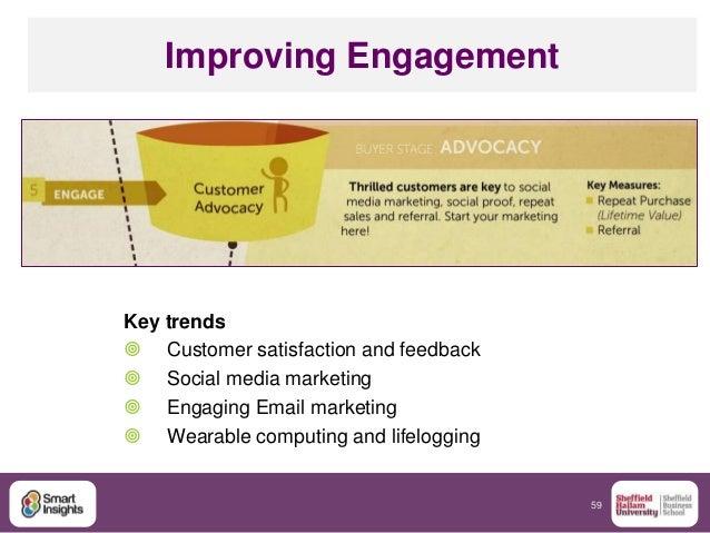 59 Improving Engagement Key trends  Customer satisfaction and feedback  Social media marketing  Engaging Email marketin...