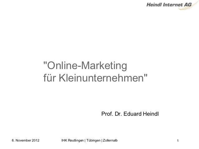 """""""Online-Marketing                   fürKleinunternehmen""""                                                 Prof. Dr. Eduar..."""