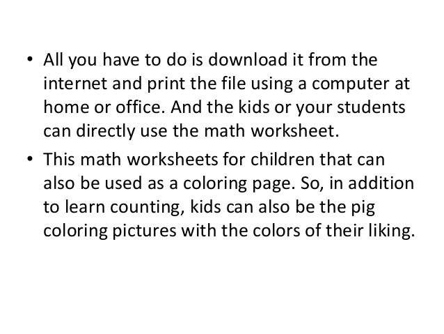 Free Online Math Worksheets for Kids with 4 Pigs – Maths Worksheets to Do Online