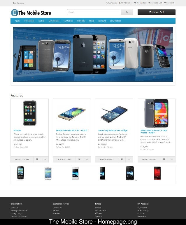 Online mobile store project in php for Mobili store online