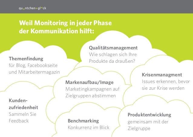 10 Weil Monitoring in jeder Phase der Kommunikation hilft: Qualitätsmanagement Wie schlagen sich Ihre Produkte da draußen?...