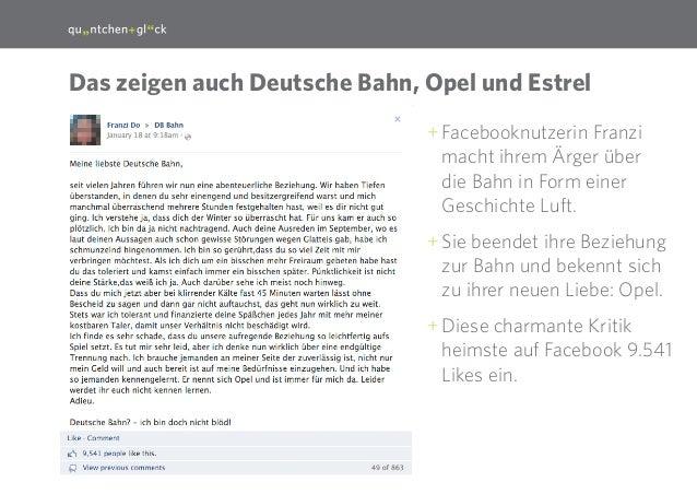 14 Das zeigen auch Deutsche Bahn, Opel und Estrel ++ Facebooknutzerin Franzi macht ihrem Ärger über die Bahn in Form einer...