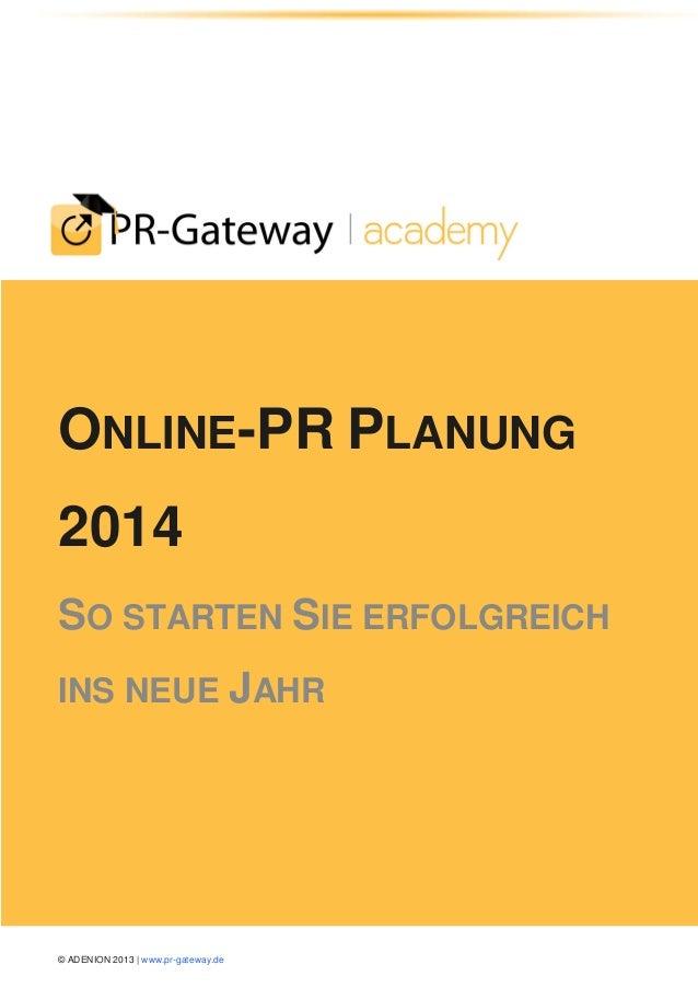 Online PR-Planung