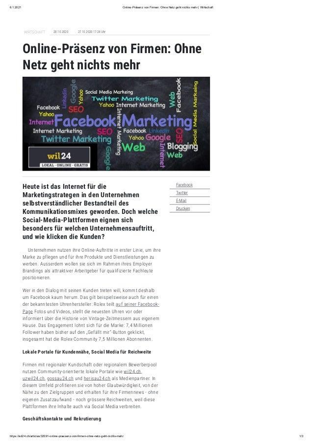 6.1.2021 Online-Präsenz von Firmen: Ohne Netz geht nichts mehr   Wirtschaft https://wil24.ch/articles/32591-online-praesen...