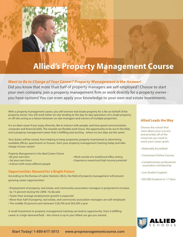 Allied's Property Management Course Want to Be in Charge of Your Career? Property Management is the Answer! Did you know t...