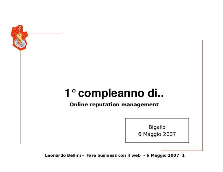 1° compleanno di..           Online reputation management                                               Bigallo           ...