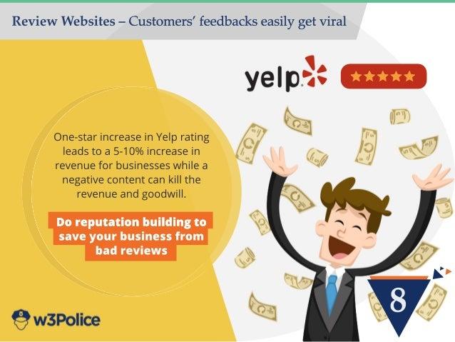 8 ReviewWebsites–Customers'feedbackseasilygetviral One-starincreaseinYelprating leadstoa5-10%increasein revenueforbusiness...