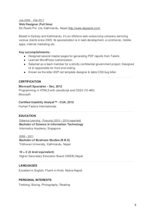 Ux Designer And Front End Engineer Cv Resume