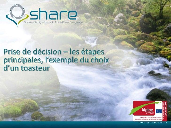 Prise de décision – les étapesprincipales, l'exemple du choixd'un toasteur  11/29/2011