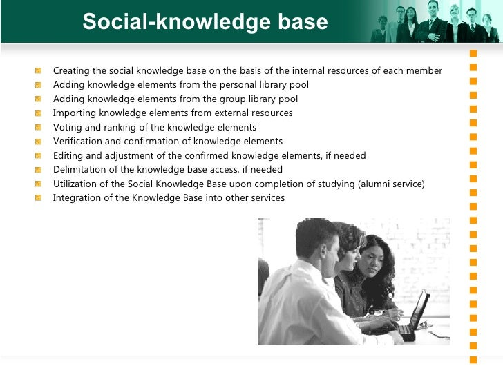 Social-knowledge base <ul><li>Creating the social knowledge base on the basis of the internal resources of each member </l...