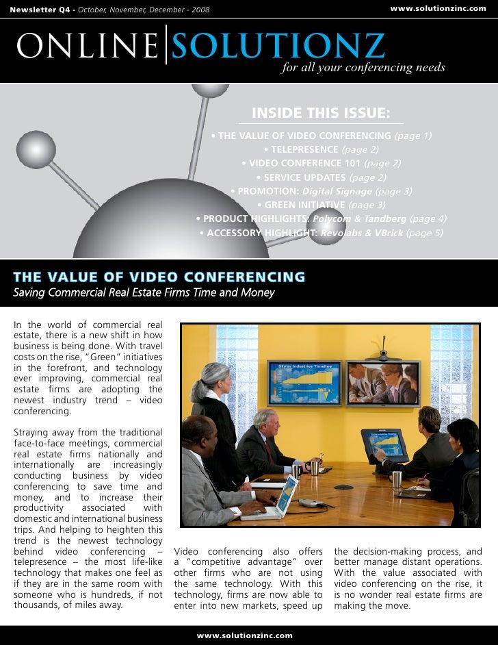 Newsletter Q4 - October, November, December - 2008                                        www.solutionzinc.com      ONLINE...