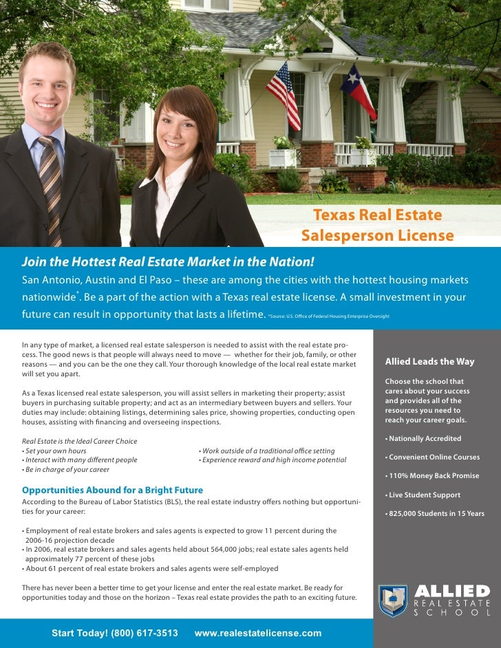 Texas Real Estate                                                                                        Salesperson Licen...