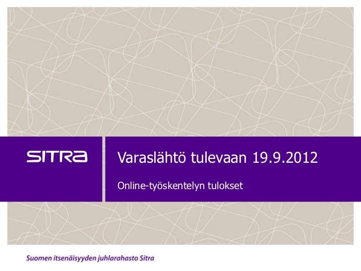 Varaslähtö tulevaan 19.9.2012Online-työskentelyn tulokset