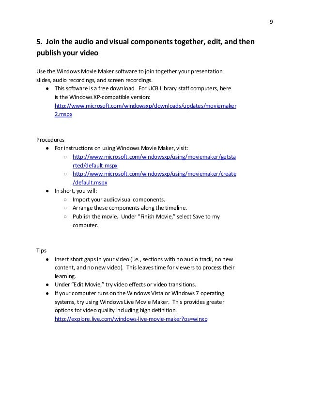 Making online videos for library instruction (handout)