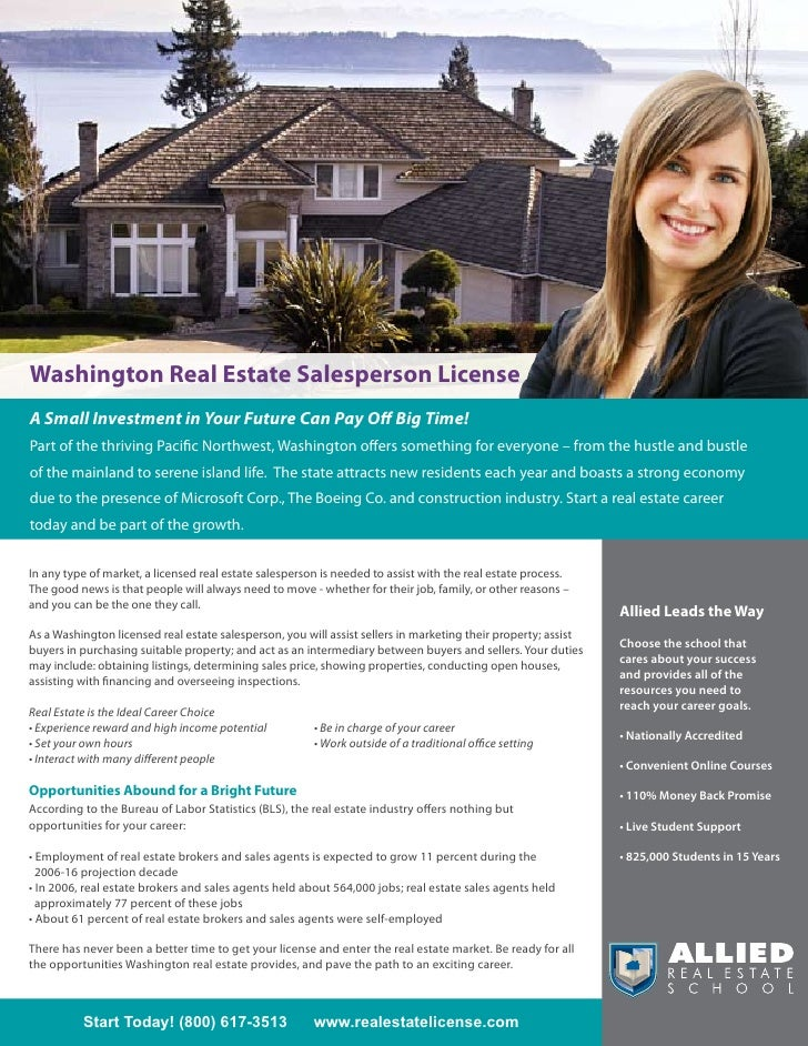 Washington Real Estate Salesperson License A Small Investment in Your Future Can Pay Off Big Time! Part of the thriving Pa...