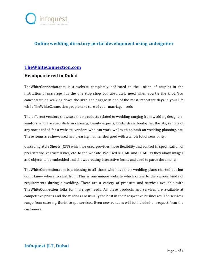 Online wedding directory portal development using codeigniter