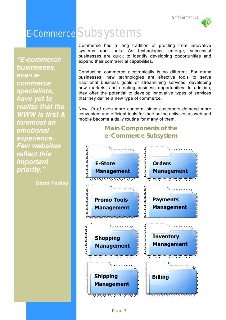 Soft Format LLC      E-Commerce Subsystems                       Commerce has a long tradition of profiting from innovativ...