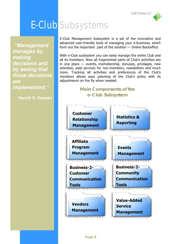 Soft Format LLC           E-Club Subsystems                      E-Club Management Subsystem is a set of the innovative an...