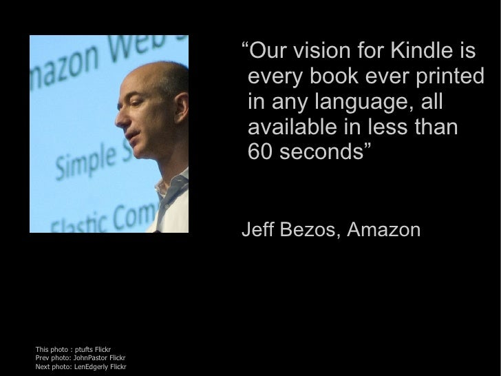 """"""" Our vision for Kindle is   every book ever printed   in any language, all   available in less than   60 seconds"""" Jeff Be..."""