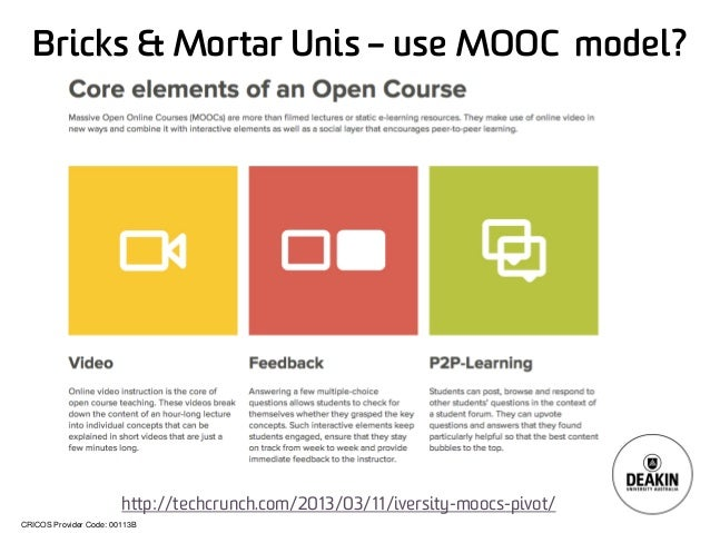 CRICOS Provider Code: 00113B Bricks & Mortar Unis – use MOOC model? http://techcrunch.com/2013/03/11/iversity-moocs-pivot/