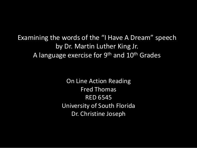"Examining the words of the ""I Have A Dream"" speech by Dr. Martin Luther King Jr. A language exercise for 9th and 10th Grad..."