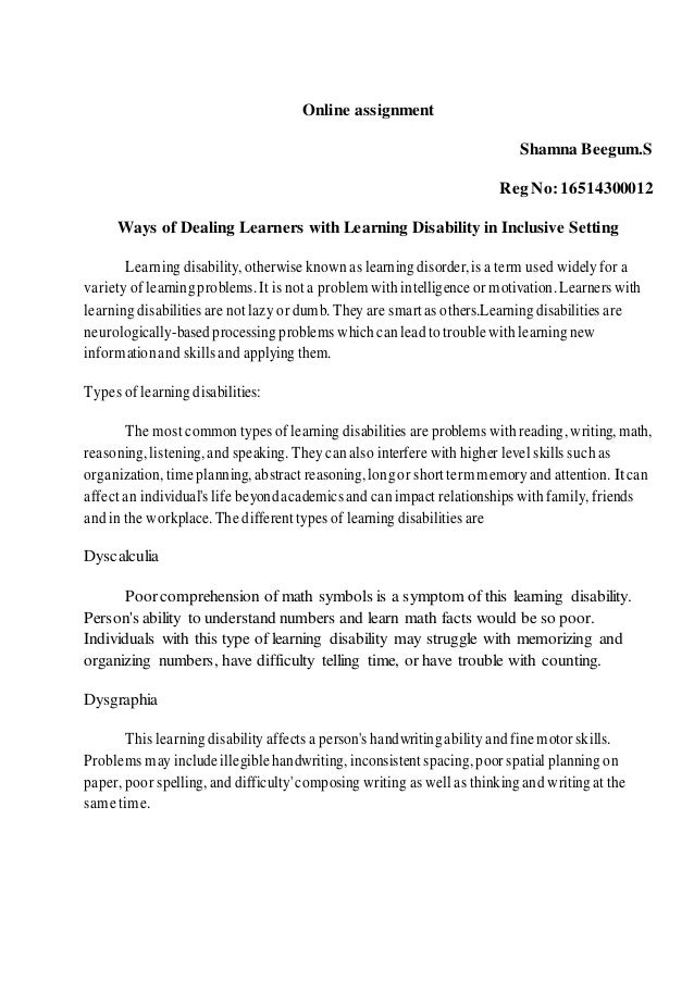 Online assignment learning disabilities online assignment shamna beegums reg no16514300012 ways of dealing learners with learning dyslexia this is the learningdisability that affects reading fandeluxe Images