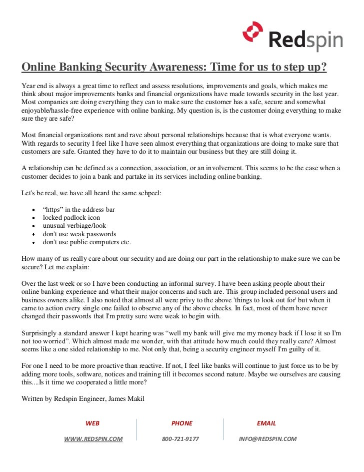 Online Banking Security Awareness: Time for us to step up?Year end is always a great time to reflect and assess resolution...