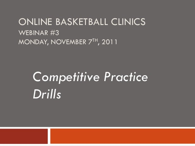 ONLINE BASKETBALL CLINICS WEBINAR #3 MONDAY, NOVEMBER 7TH, 2011 Competitive Practice Drills