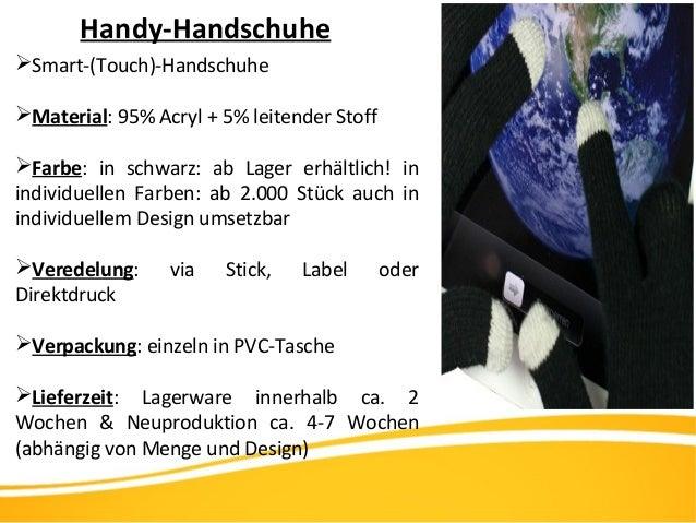 Handy-Handschuhe Smart-(Touch)-Handschuhe Material: 95% Acryl + 5% leitender Stoff Farbe: in schwarz: ab Lager erhältli...