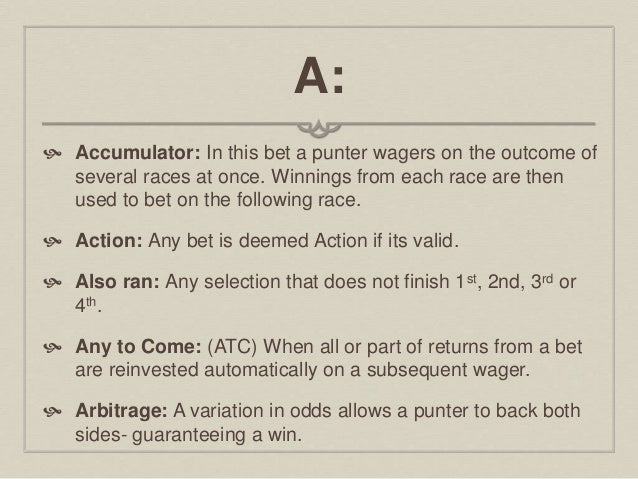 Sport betting terms glossary kimmy bettinger real estate
